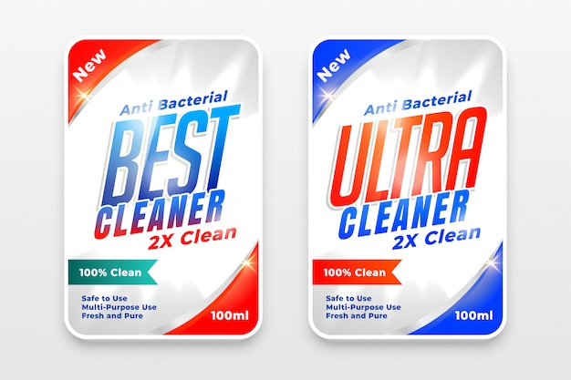 Detergent cleaner and disinfectant labels set of two