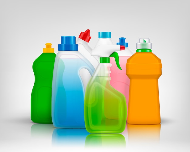 Detergent color bottles composition with realistic images of colorful bottles filled with washing soap with shadows