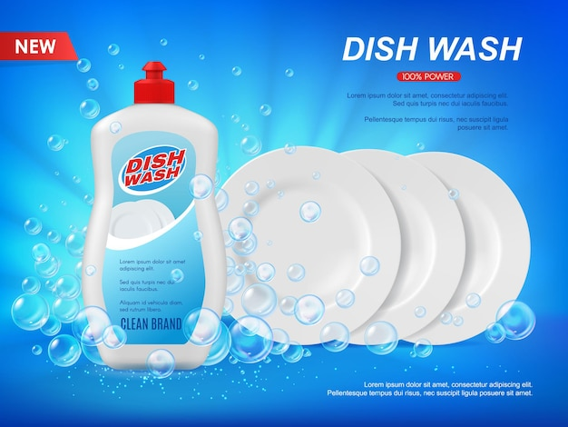 Detergent dishware cleaner with plates and bubbles. dish wash vector ad background with soap and clean white dishes shining. dishwashing liquid advertising poster template, realistic 3d promo design