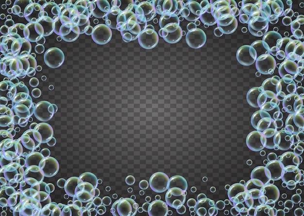 洗剤の泡。石鹸の泡と浴槽の泡。シャンプー。