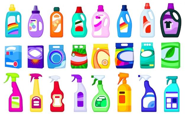 Детержентная иллюстрация на белой предпосылке. мультфильм установить значок мыльный порошок. мультфильм установить значок моющего средства.