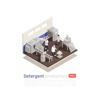 Detergent production isometric composition with modern equipment bottling line and assistants testing finished product