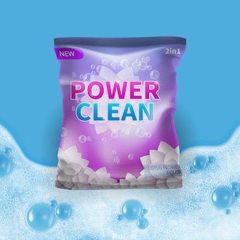 Detergent vector design on bag package template with realistic foam on background. illustration of detergent package powder for hygiene and wash