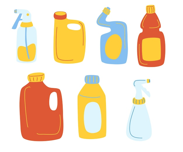 Detergents bottles vector cartoon set. cleaning products cleaning supplies for home, household. plastic bottles different shapes template for toilet bathroom cleaning. all elements are isolated