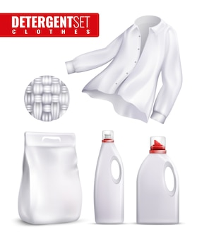 Detergents clothes icon set