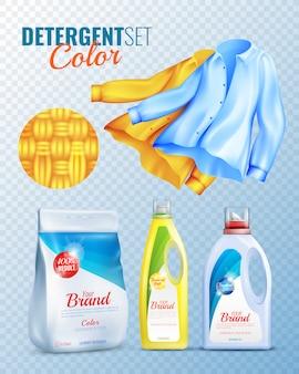 Detergents clothes transparent icon set