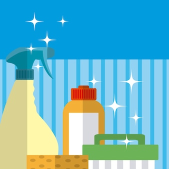 Detergents in bottles and brush