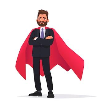빨간 망토를 입은 단호한 사업가나 회사원 슈퍼 영웅. 비즈니스에서 리더십과 힘의 개념. 만화 스타일의 벡터 일러스트 레이 션.