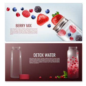 Detox beverages horizontal banners