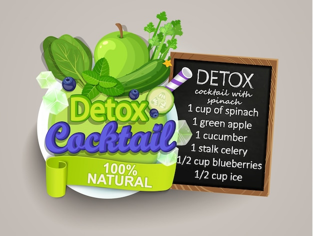 Detox cocktail with recipe.