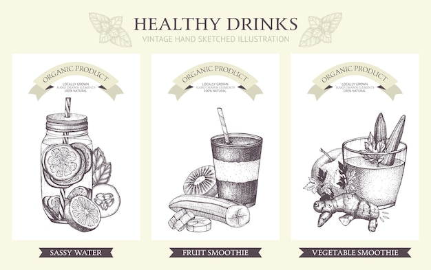 Detox cocktails collection. vintage healthy drinks illustrations in vintage style.