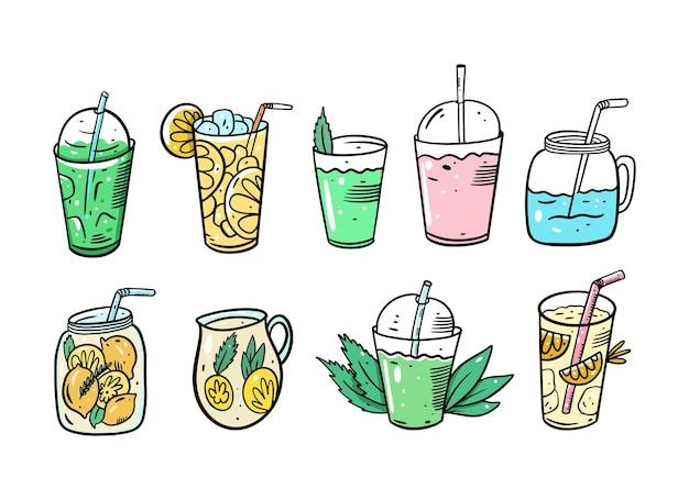 해독 칵테일 세트. 레모네이드 또는 여름 칵테일. 유기농 제품. 만화 스타일. 삽화. 흰색 배경에 고립.