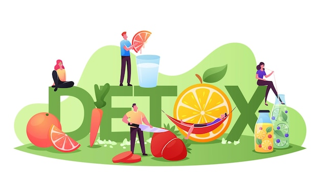 해독 다이어트 개념입니다. 신선한 유기농 과일과 야채의 스무디를 요리하고 마시는 작은 캐릭터. 건강한 영양, 비타민 식품 포스터 배너 전단지. 만화 사람들 벡터 일러스트 레이 션