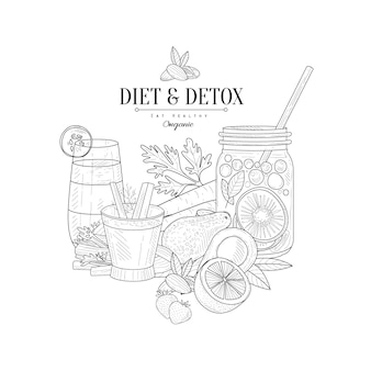 Detox and diet fresh food  drink hand drawn realistic sketch