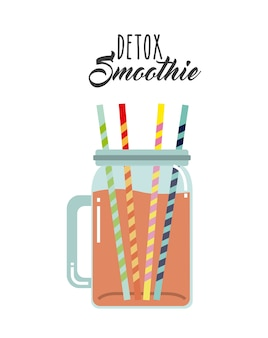 Detox icon. smoothie and juice design. vector graphic