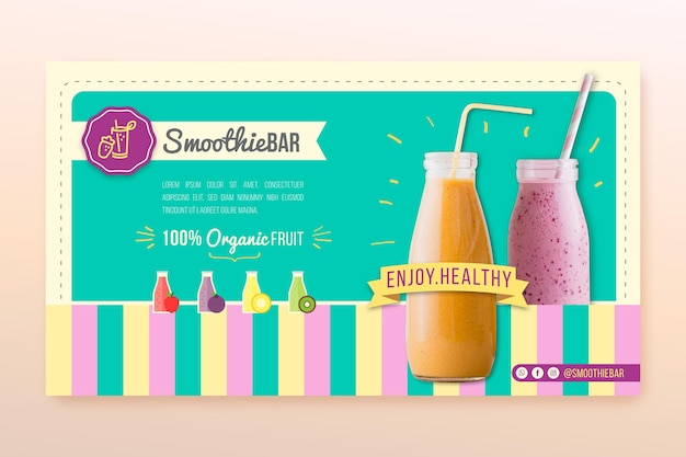 Detox organic smoothie bar banner template