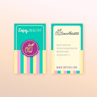 Detox organic smoothie bar vertical business card