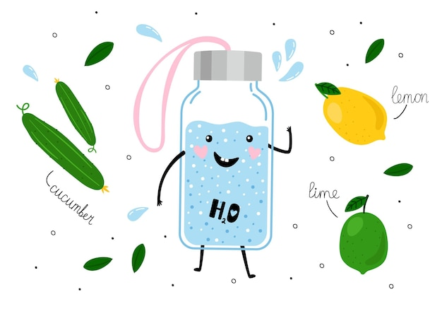 Detox water. happy cute bottle, lemon lime cucumber and splashes vector background