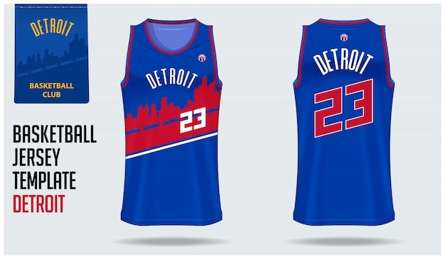 Detroit basketball jersey template design