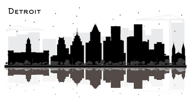 Detroit michigan city skyline silhouette with black buildings isolated on white. vector illustration. business travel and tourism concept with modern architecture. detroit cityscape with landmarks.