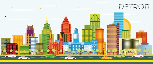 Detroit michigan city skyline with color buildings and blue sky. vector illustration. business travel and tourism concept with modern architecture. detroit cityscape with landmarks.