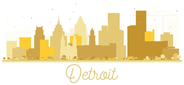 디트로이트 미국 도시 스카이 라인 황금 실루엣입니다. 관광 프레젠테이션, 배너, 현수막 또는 웹 사이트에 대한 간단한 평면 개념. 랜드마크가 있는 디트로이트 도시 풍경. 벡터 일러스트 레이 션.