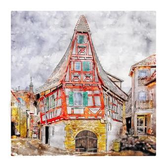 ドイツドイツ水彩スケッチ手描きイラスト