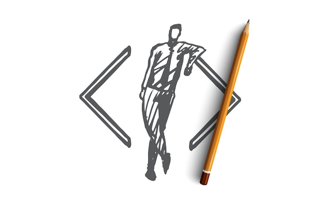 Develop, coding, software, programming, project concept. hand drawn developer and symbol of code concept sketch.