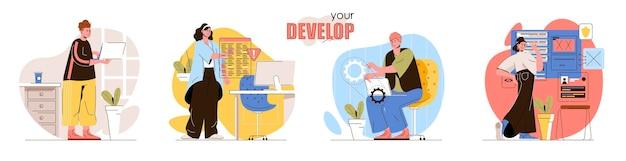 개념 장면 세트 개발 개발자 코딩 프로그램 개발 테스트 소프트웨어 최적화 응용 프로그램 사람들의 활동 모음