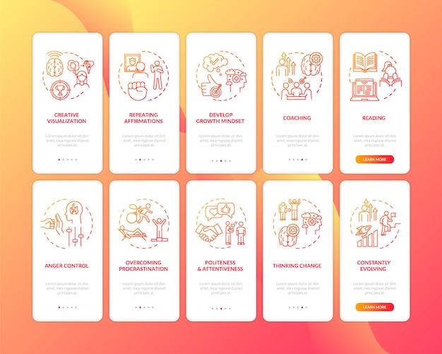Develop healthy lifestyle red onboarding mobile app page screen with concepts