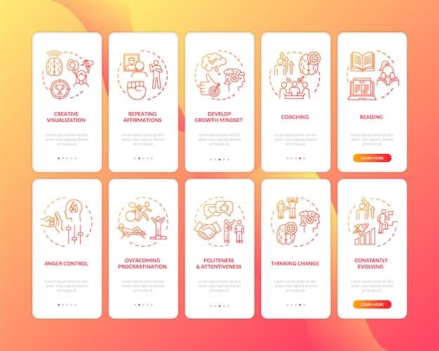 Разработайте концепцию здорового образа жизни на красном экране мобильного приложения с концепциями