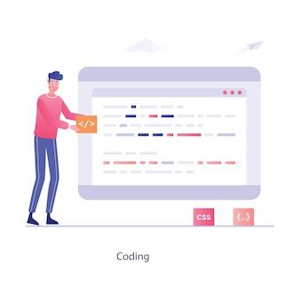 コードを書くことによってソフトウェアを開発するフラットな編集可能なコーディングスタイル