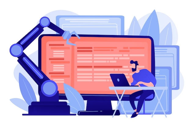 Разработчик на ноутбуке и компьютере с открытым роботизированным программным обеспечением. открытая архитектура автоматизации, программное обеспечение для робототехники с открытым исходным кодом, концепция бесплатной разработки