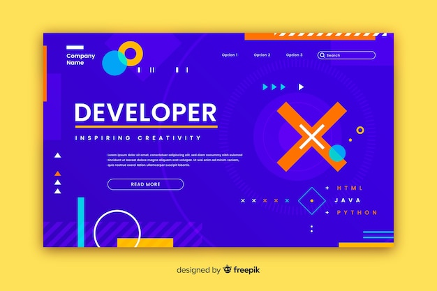 Developer geometric shapes landing page