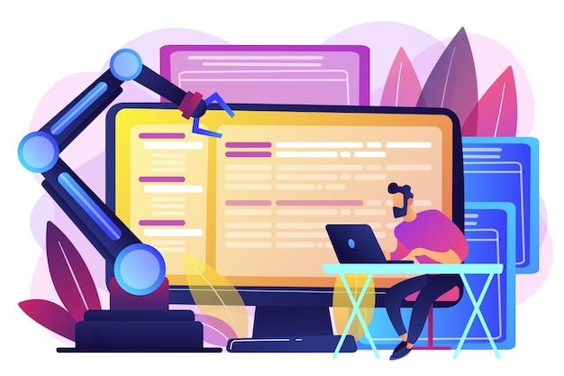 Sviluppatore su laptop e computer con software robotico aperto. architettura di automazione aperta, robotica open source soft, concetto di sviluppo gratuito. illustrazione isolata viola vibrante brillante