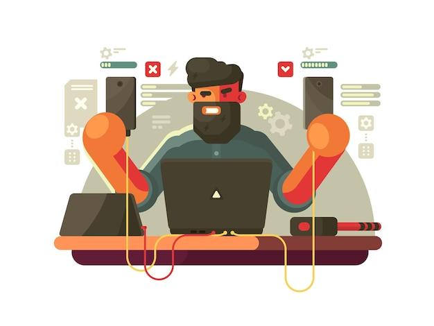 Разработчик мобильных телефонов. бородатый мужчина с гаджетами. векторная иллюстрация