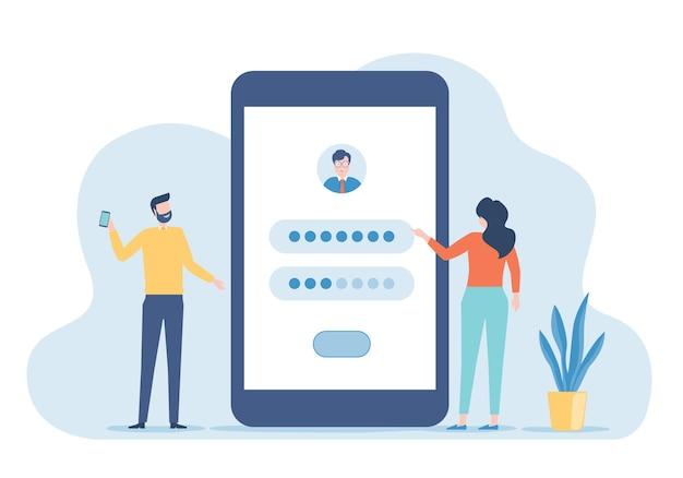 携帯電話の概念を持つユーザーログインアプリケーションの開発者チームの設定