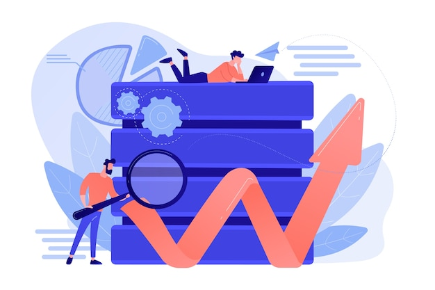 Developer with magnifying glass working with big data and zigzag arrow. digital analytics tools, data storage and software engineering concept. vector isolated illustration.