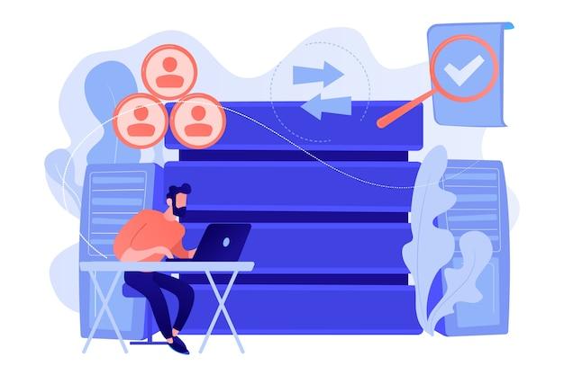 経営情報システムを扱う開発者。情報システムのセキュリティと整合性、ビッグデータ、財務情報組織の概念。ベクトル分離イラスト。