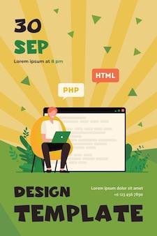 웹 사이트 용 코드를 작성하는 개발자. 노트북, 컴퓨터, 디자이너 플랫 플라이어 템플릿