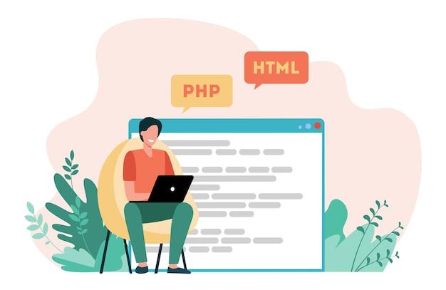 ウェブサイトのコードを書く開発者。ラップトップ、コンピューター、デザイナーフラットベクトルイラスト。コーディングとプログラミング