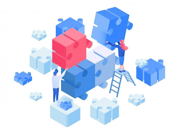 Developers coworking, team working isometric