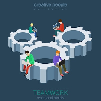 Developers programmer coder teamwork cogwheel