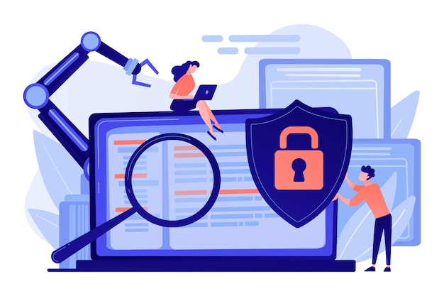 Sviluppatori, robot lavorano al laptop con lente d'ingrandimento. sicurezza informatica industriale, malware per robotica industriale, salvaguardia del concetto di robotica industriale