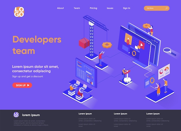 Developers team 3d isometric landing page illustration with people characters