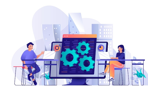 Developers team flat design concept illustration of people characters