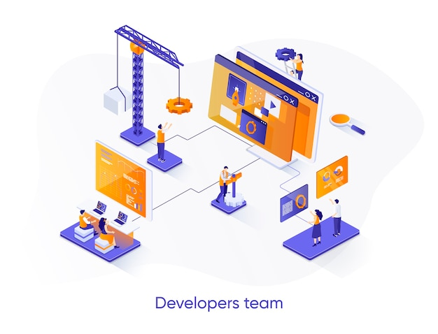 Developers team isometric   illustration with people characters