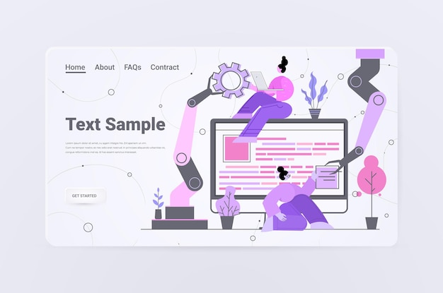 Команда разработчиков с роботизированными руками создание веб-сайта пользовательский интерфейс разработка веб-приложений программа концепция оптимизации программного обеспечения горизонтальная копия пространство во всю длину
