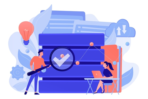 Разработчики с увеличительным стеклом изучают аналитику данных. исследование и управление базами данных, анализ поиска, статистика больших данных и концепция совместного использования. изолированная иллюстрация вектора.