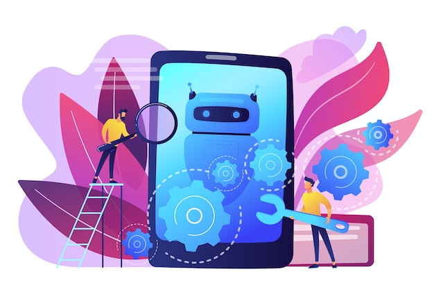 Developers with wrench work on chatbot application development. chatbot app development, bot development framework, chatbot programming concept. bright vibrant violet  isolated illustration